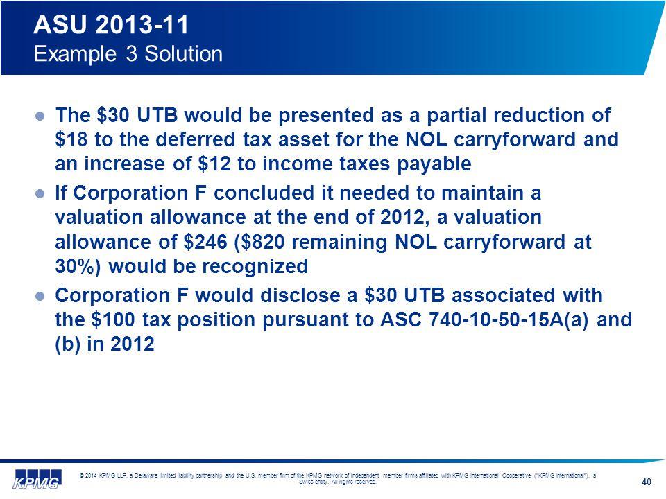 ASU 2013-11 Example 3 Solution