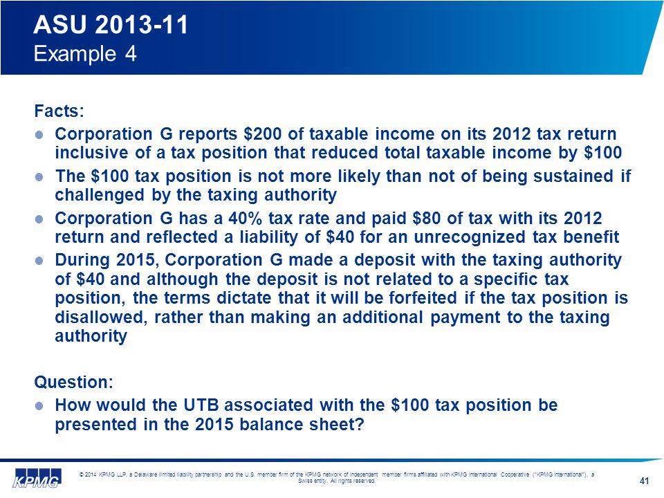 ASU 2013-11 Example 4 Facts:
