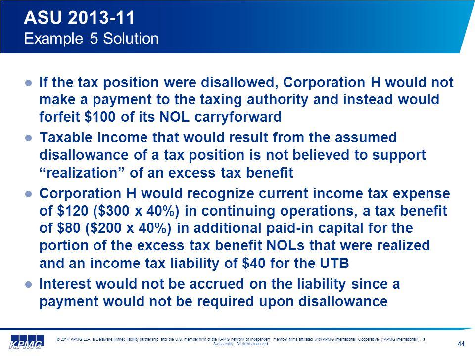 ASU 2013-11 Example 5 Solution