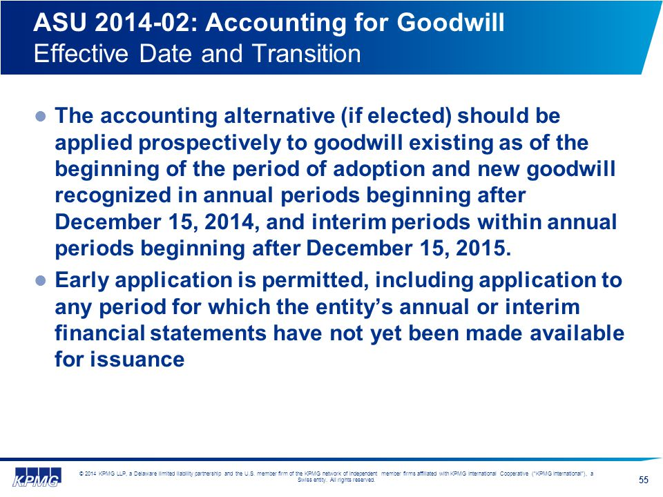 ASU 2014-02: Accounting for Goodwill Effective Date and Transition