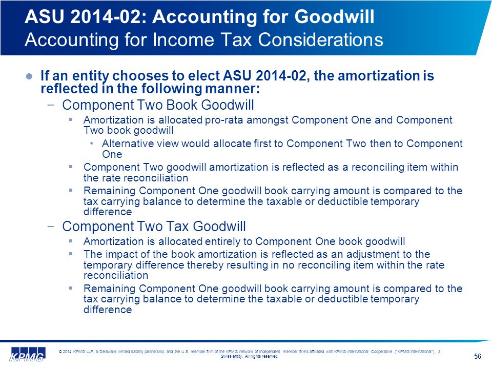 ASU 2014-02: Accounting for Goodwill Accounting for Income Tax Considerations