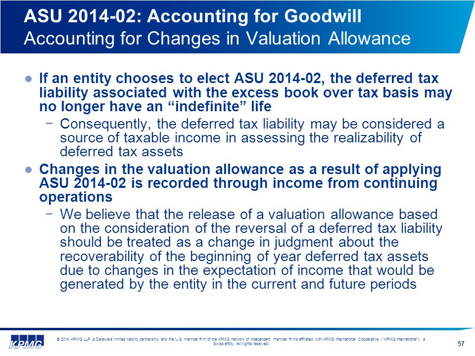 ASU 2014-02: Accounting for Goodwill Accounting for Changes in Valuation Allowance
