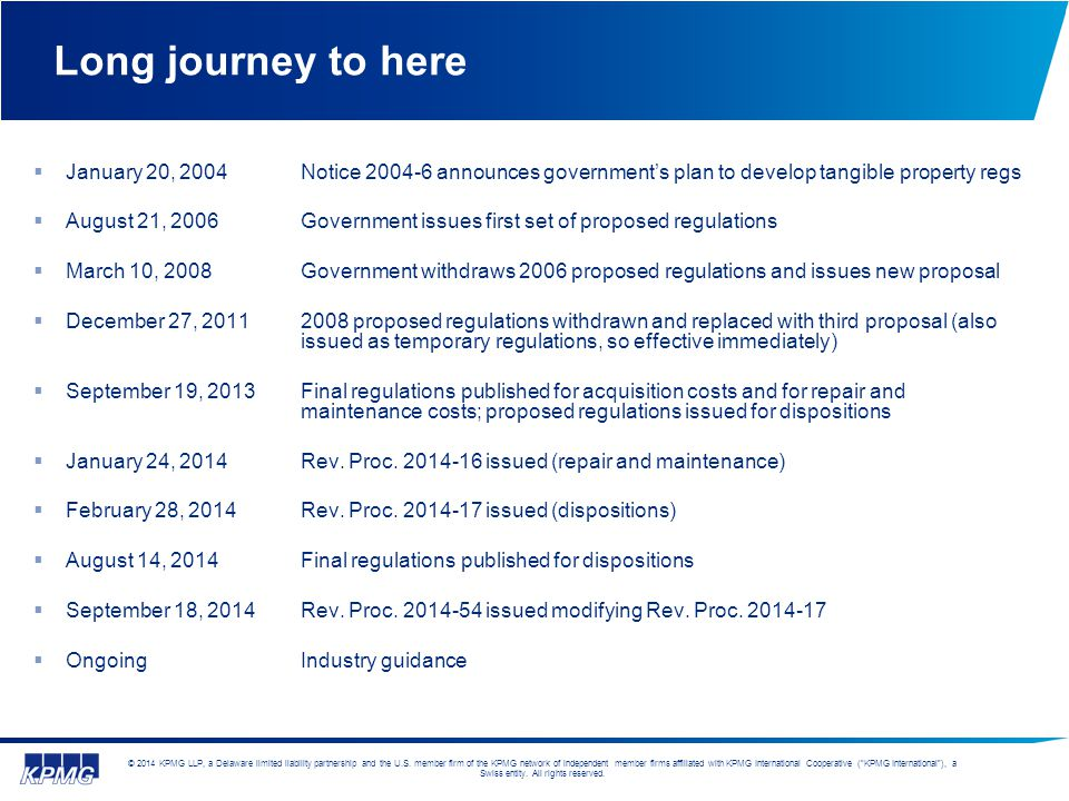 Long journey to here January 20, 2004 Notice 2004-6 announces government's plan to develop tangible property regs.