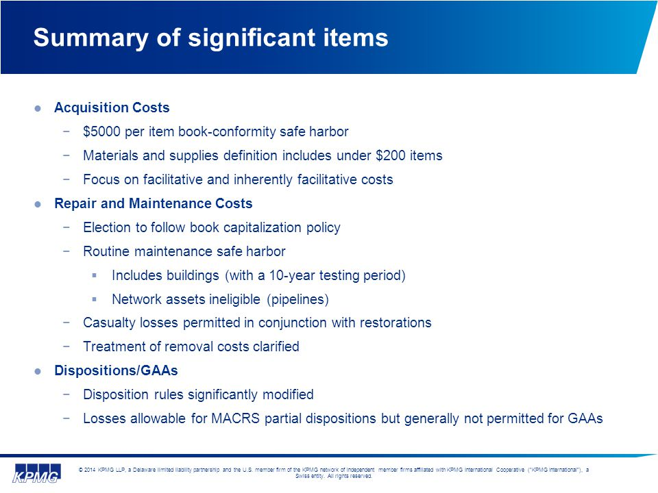 Summary of significant items