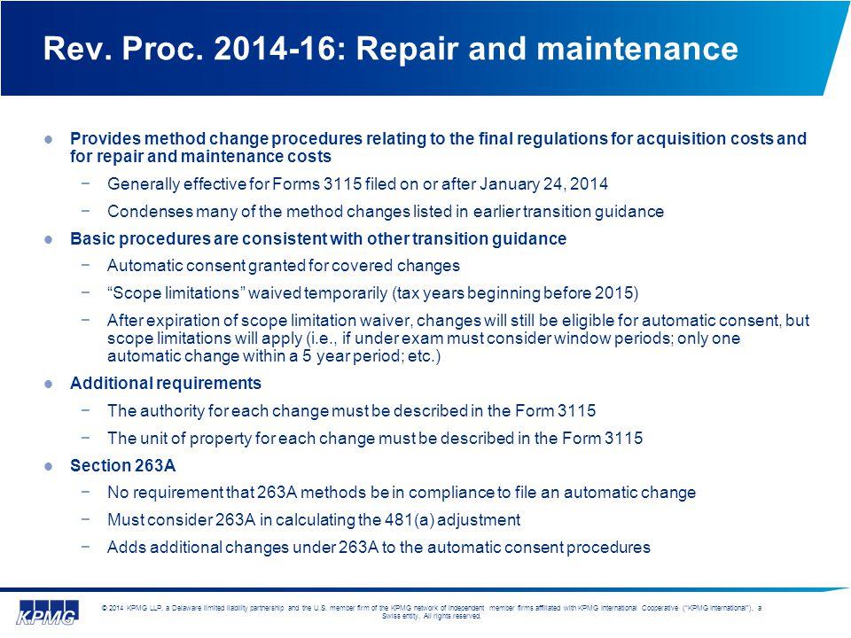 Rev. Proc. 2014-16: Repair and maintenance