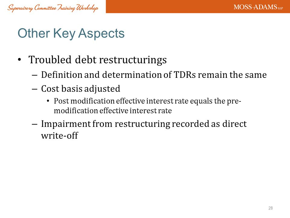 Other Key Aspects Troubled debt restructurings