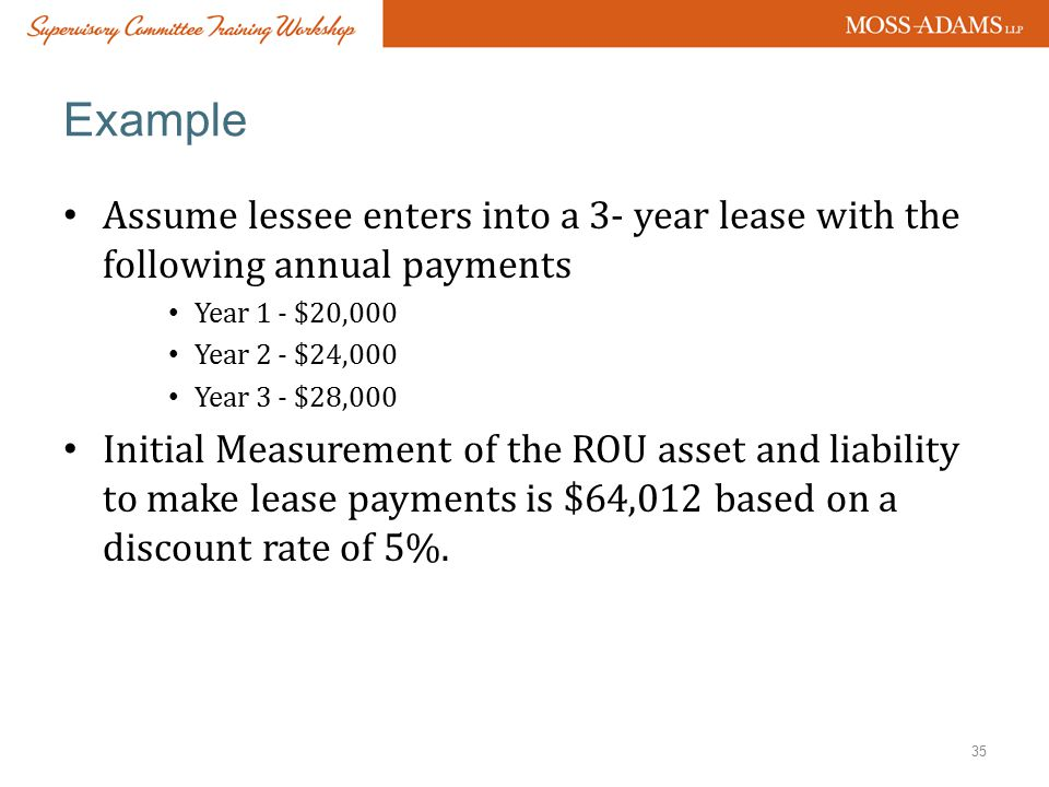 Example Assume lessee enters into a 3- year lease with the following annual payments. Year 1 - $20,000.