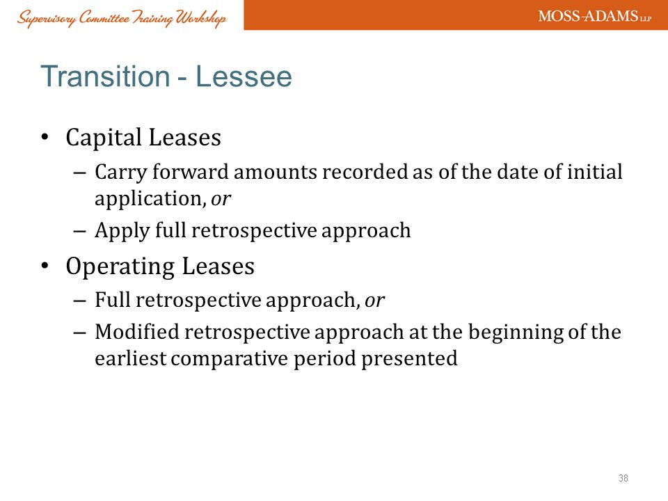 Transition - Lessee Capital Leases Operating Leases