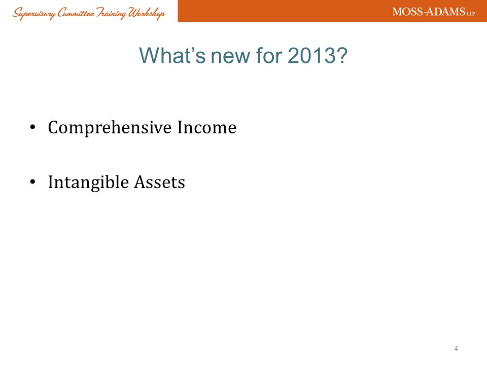 What's new for 2013 Comprehensive Income Intangible Assets