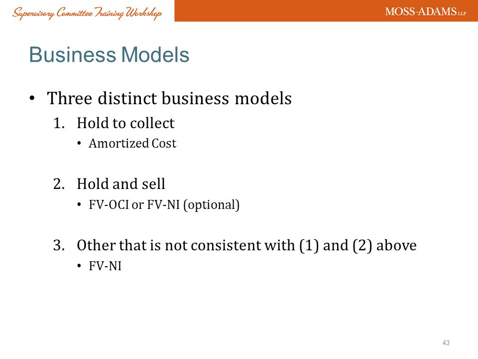 Business Models Three distinct business models Hold to collect
