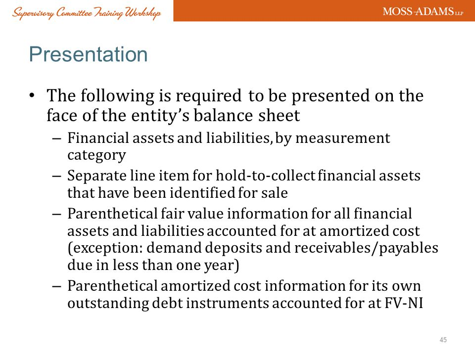 Presentation The following is required to be presented on the face of the entity's balance sheet.