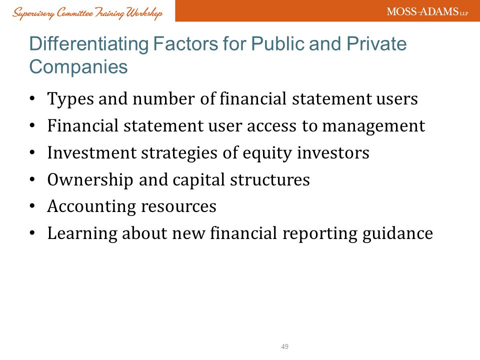 Differentiating Factors for Public and Private Companies