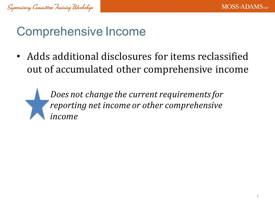 Comprehensive Income Adds additional disclosures for items reclassified out of accumulated other comprehensive income.