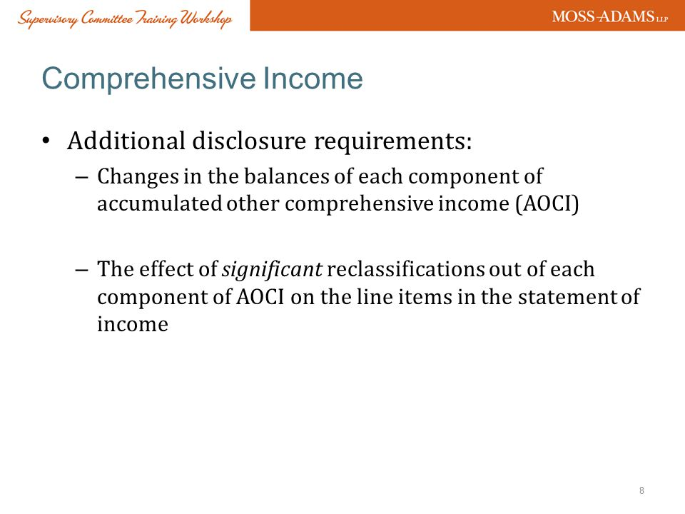 Comprehensive Income Additional disclosure requirements:
