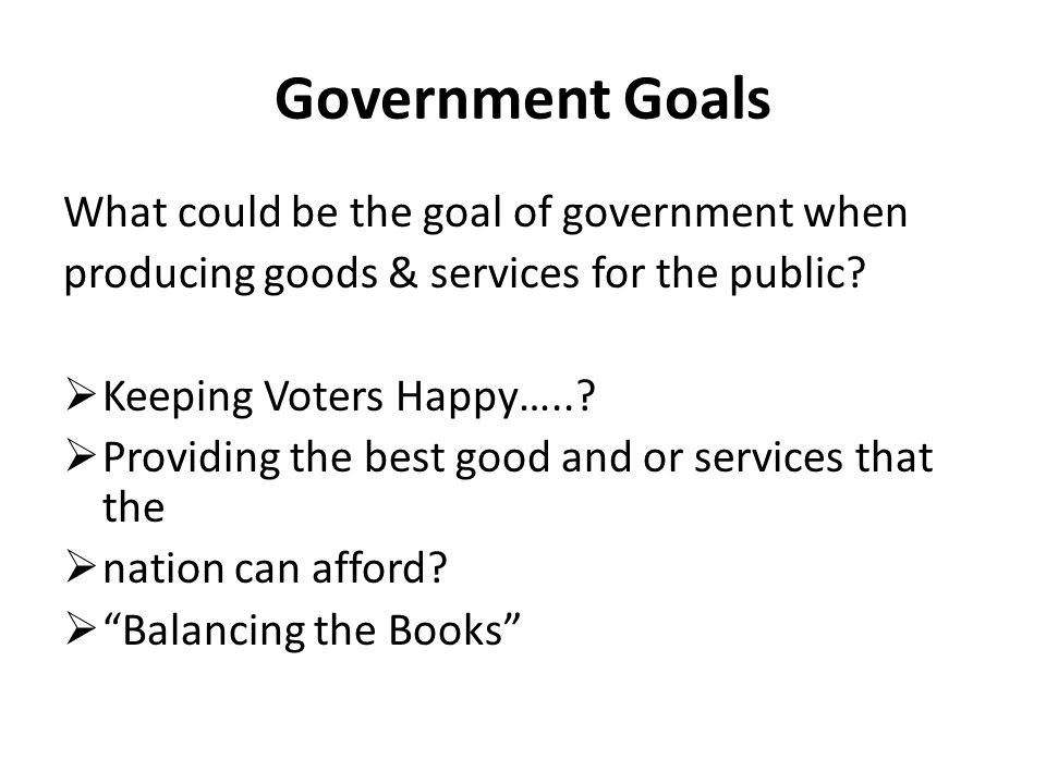 Government Goals What could be the goal of government when