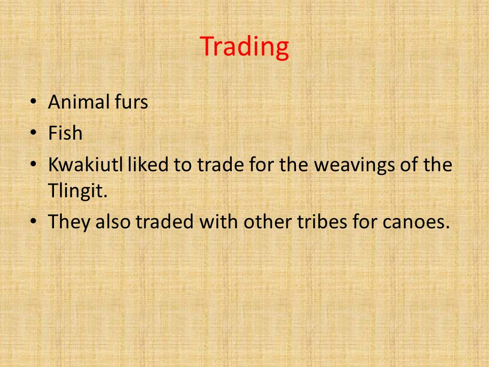 Trading Animal furs Fish