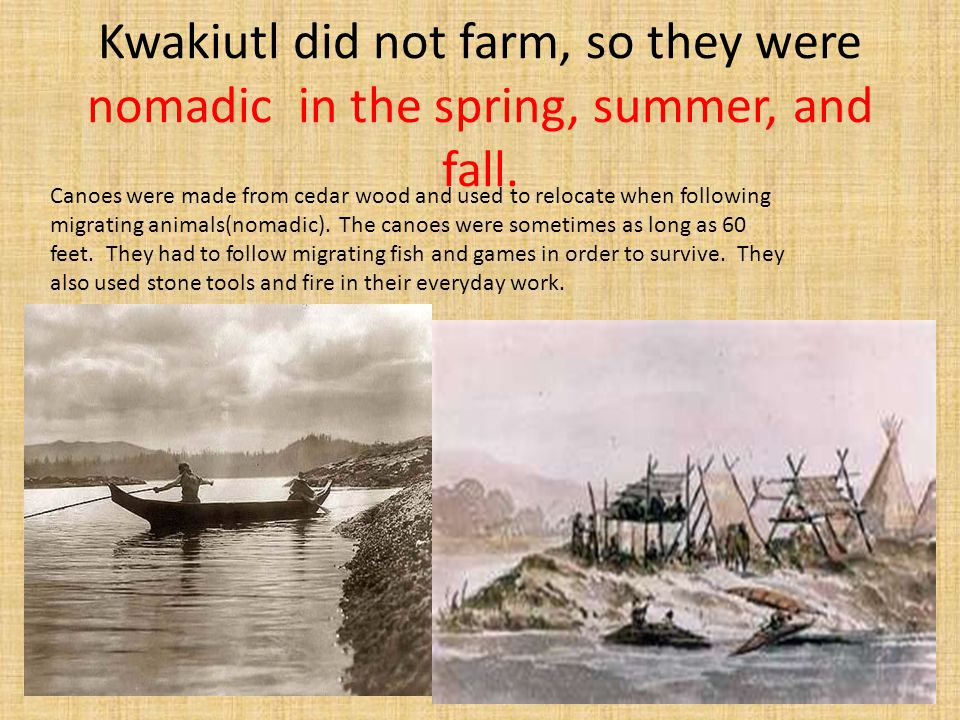 Kwakiutl did not farm, so they were nomadic in the spring, summer, and fall.