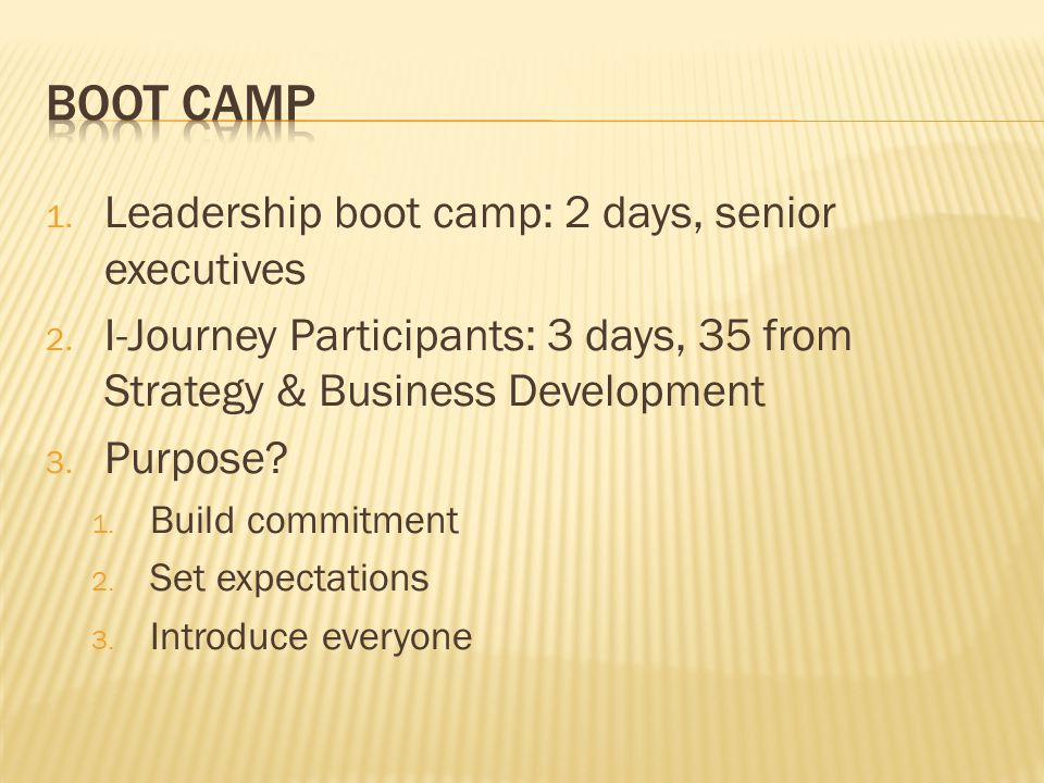 BOOT CAMP Leadership boot camp: 2 days, senior executives
