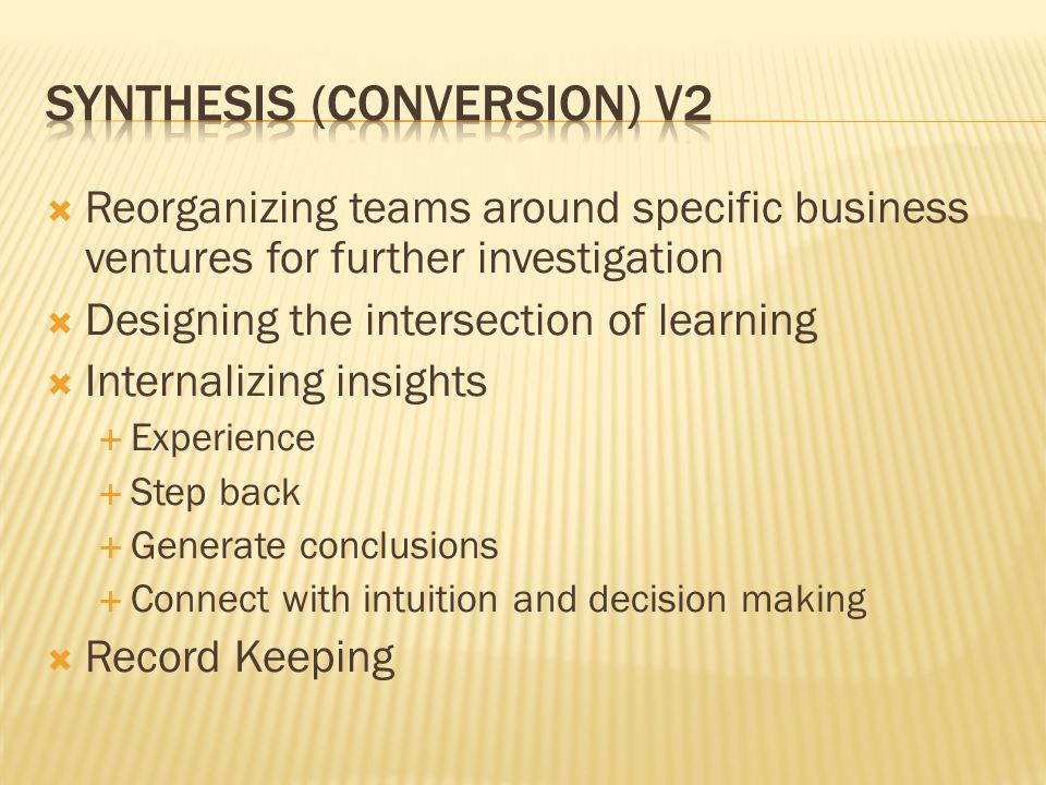 Synthesis (conversion) V2