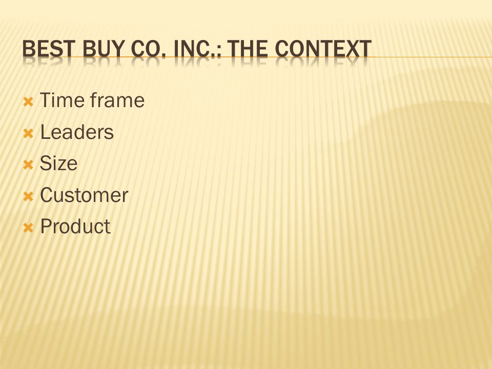 Best buy co. inc.: the context
