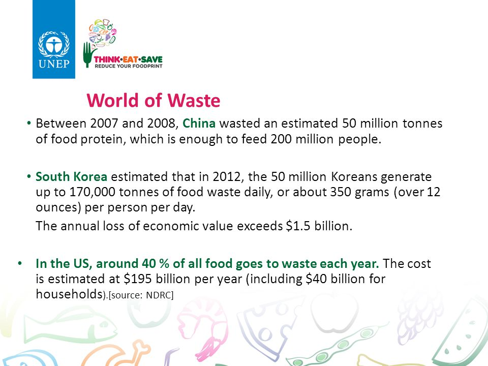 World of Waste Between 2007 and 2008, China wasted an estimated 50 million tonnes of food protein, which is enough to feed 200 million people.