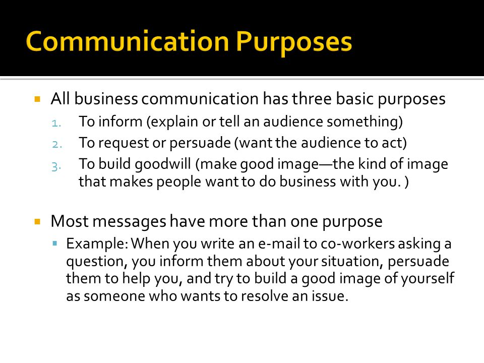 Communication Purposes