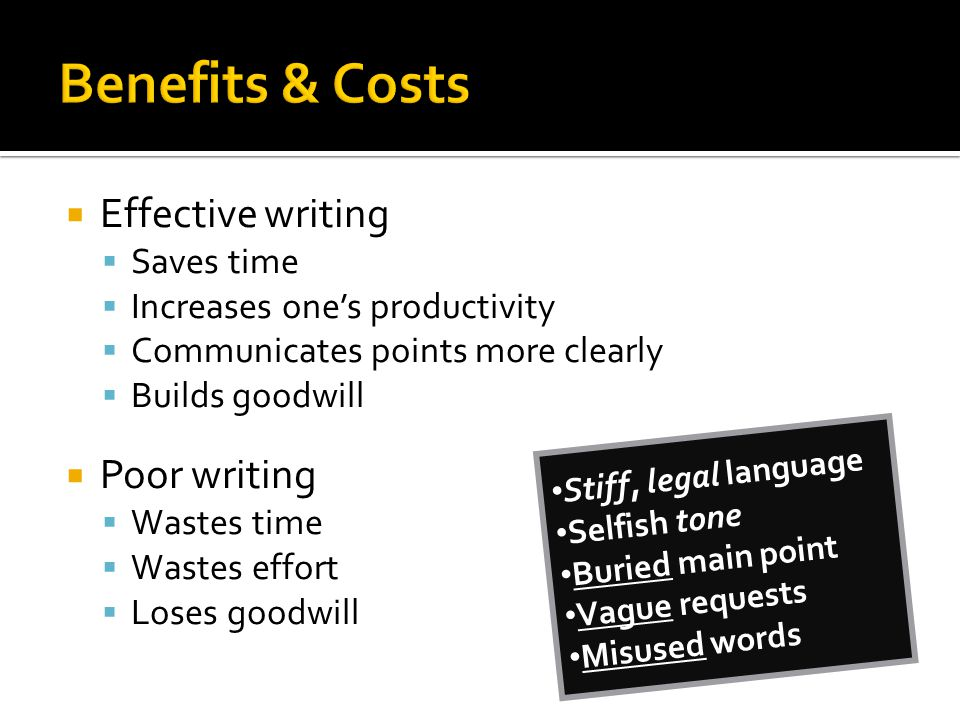 Benefits & Costs Effective writing Poor writing Saves time