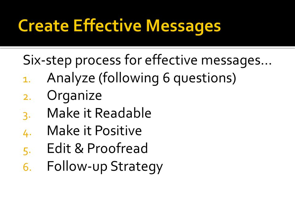 Create Effective Messages
