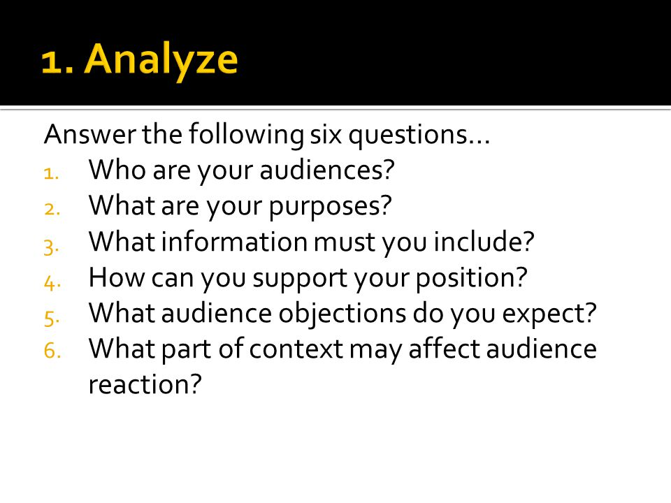 1. Analyze Answer the following six questions… Who are your audiences