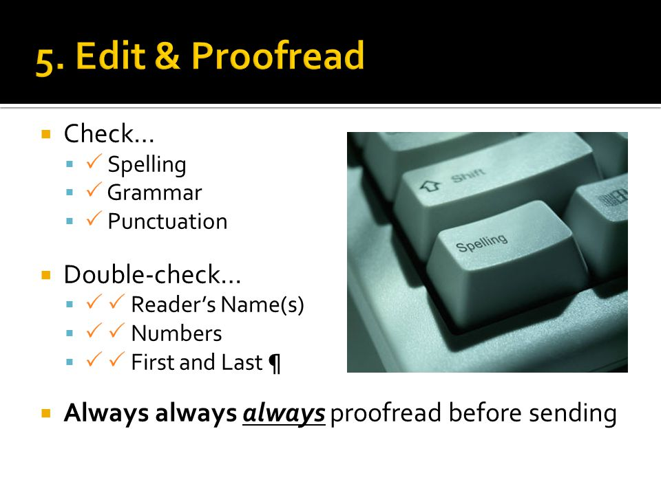 5. Edit & Proofread Check… Double-check…