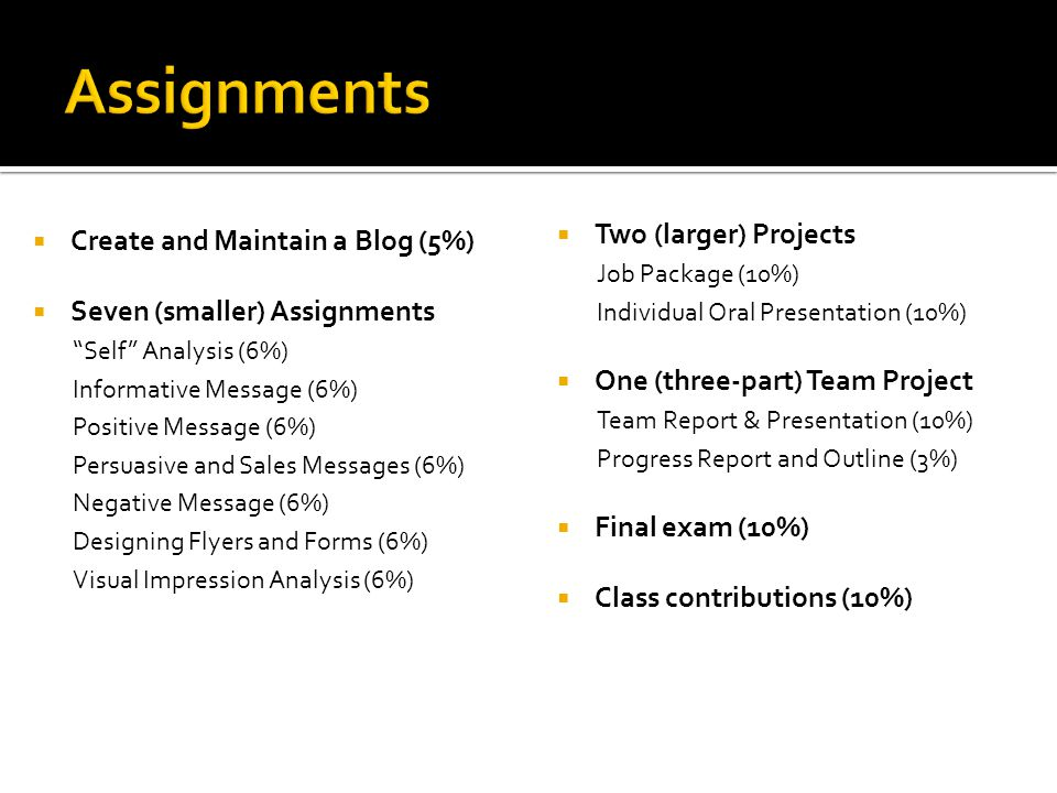Assignments Two (larger) Projects Create and Maintain a Blog (5%)
