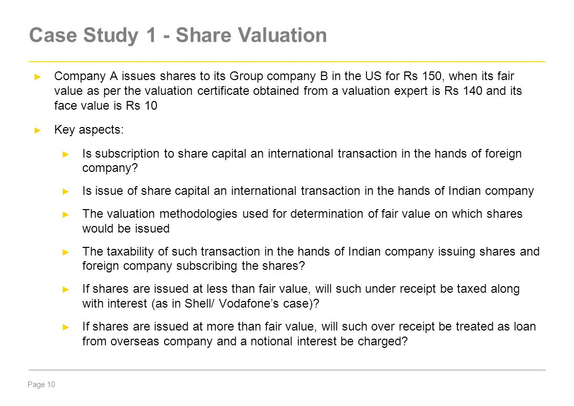 Case Study 1 - Share Valuation