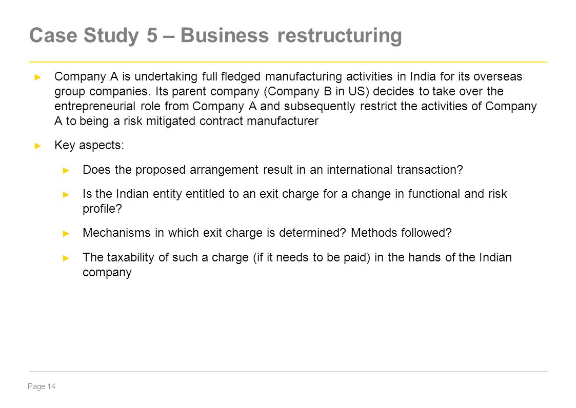 Case Study 5 – Business restructuring
