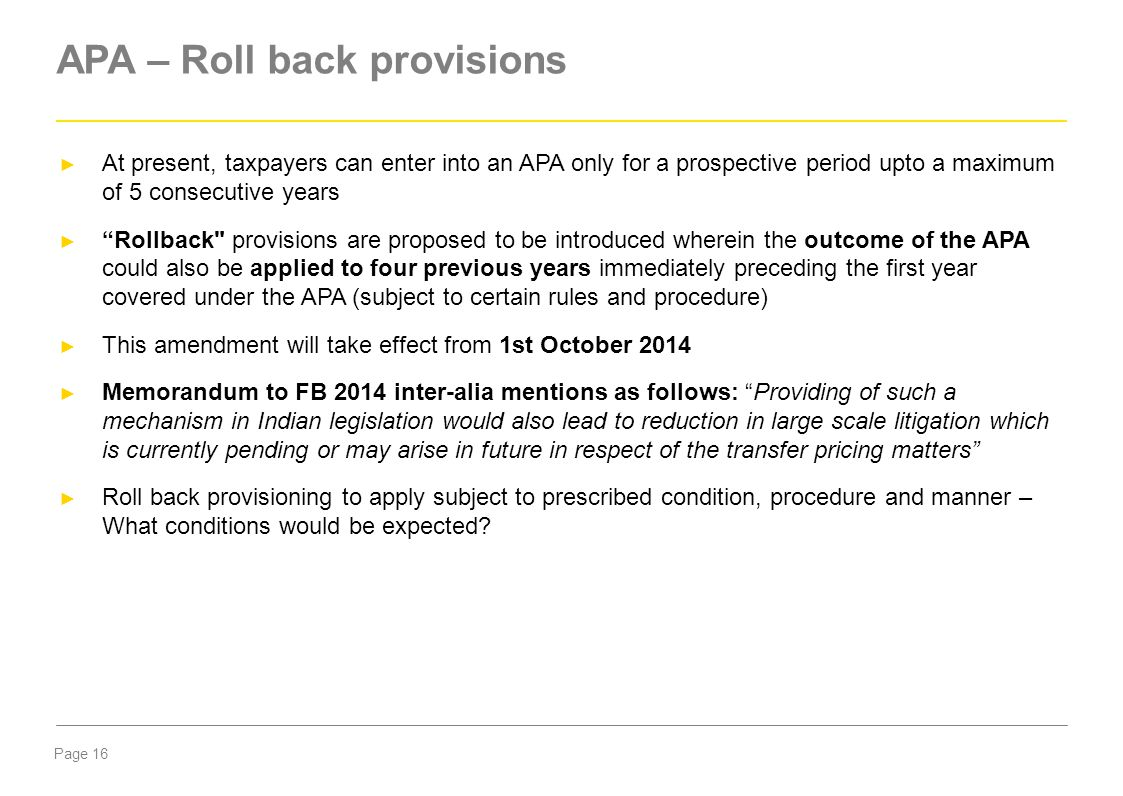 APA – Roll back provisions