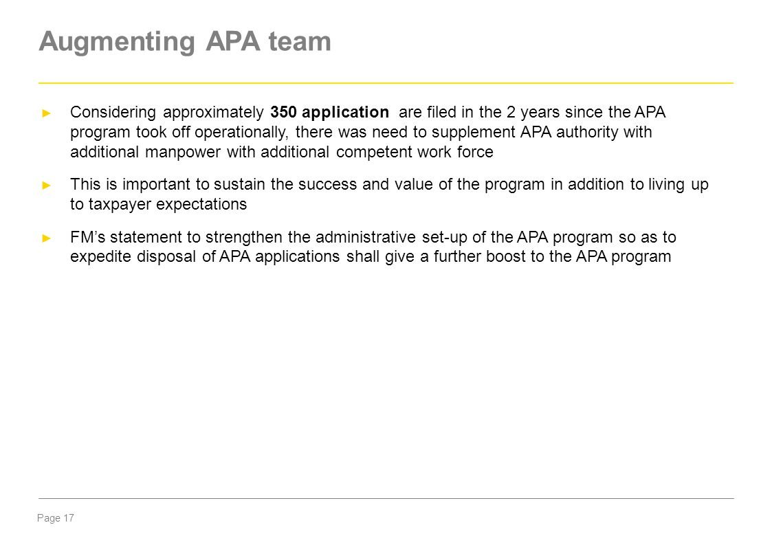 Augmenting APA team