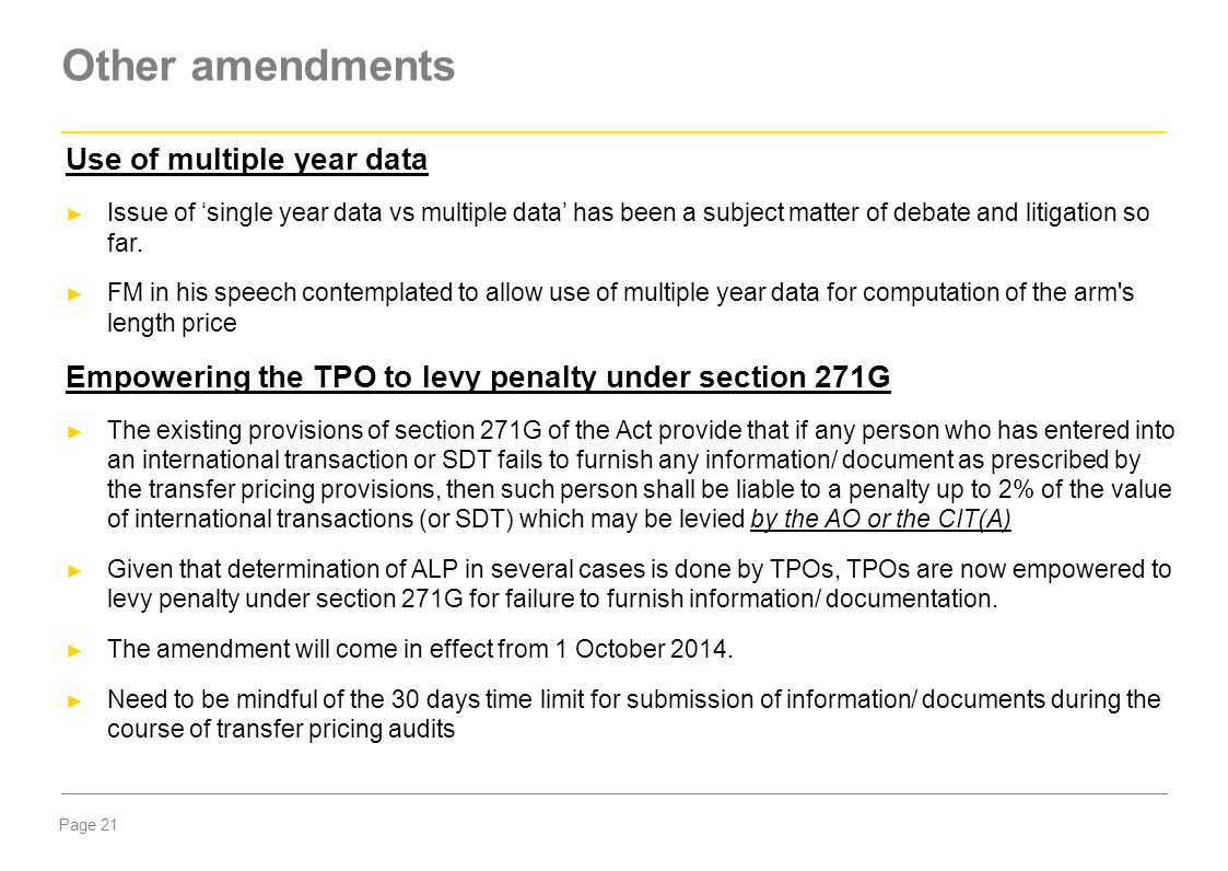 Other amendments Use of multiple year data