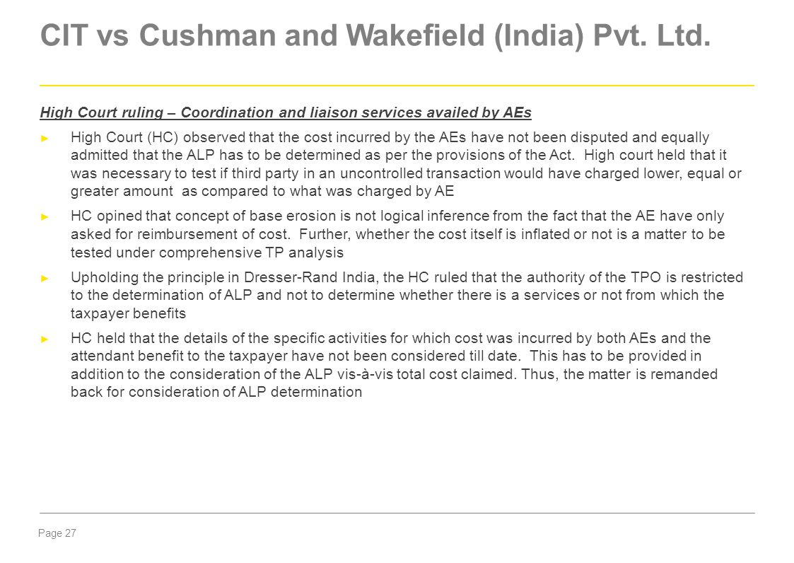 CIT vs Cushman and Wakefield (India) Pvt. Ltd.