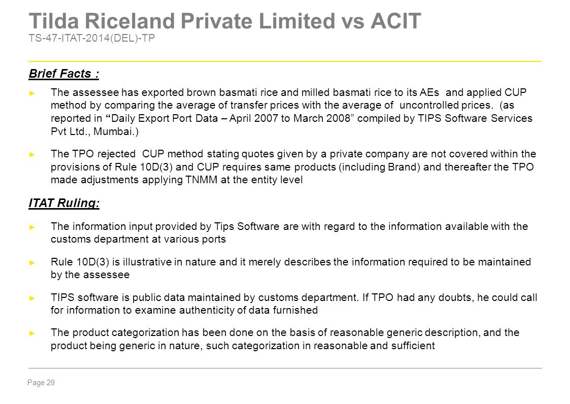 Tilda Riceland Private Limited vs ACIT TS-47-ITAT-2014(DEL)-TP