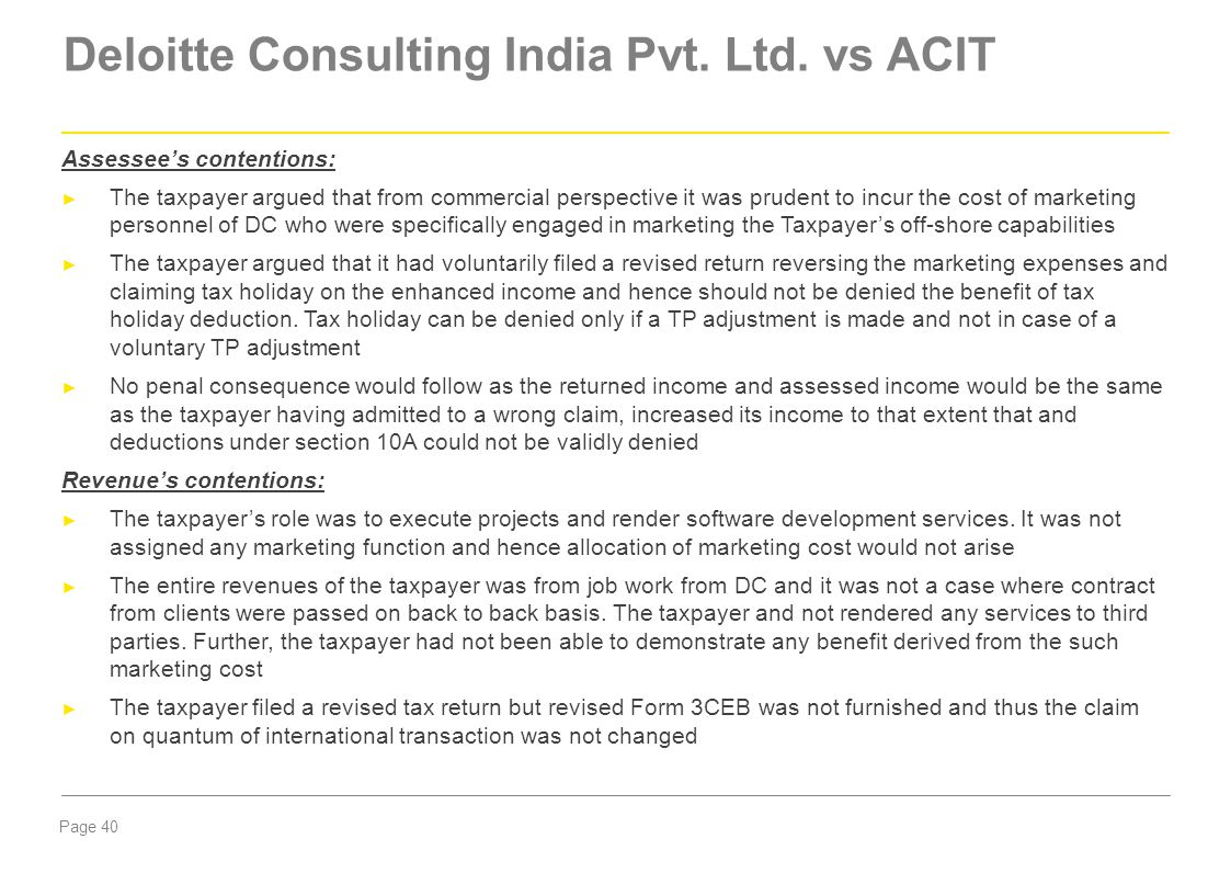 Deloitte Consulting India Pvt. Ltd. vs ACIT