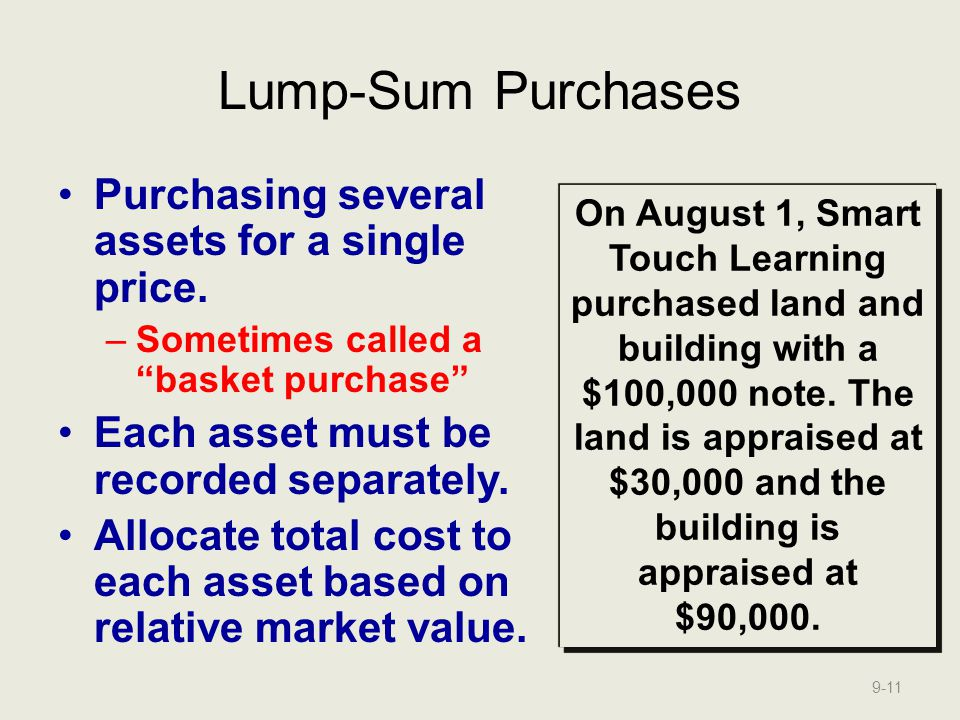 Lump-Sum Purchases Purchasing several assets for a single price.