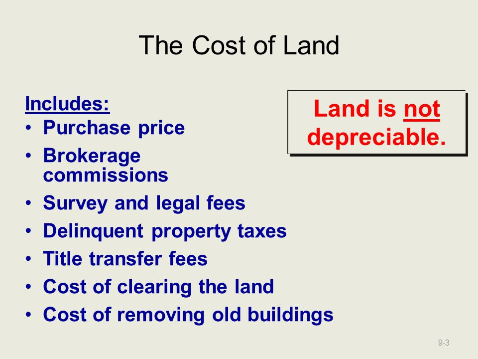 Land is not depreciable.