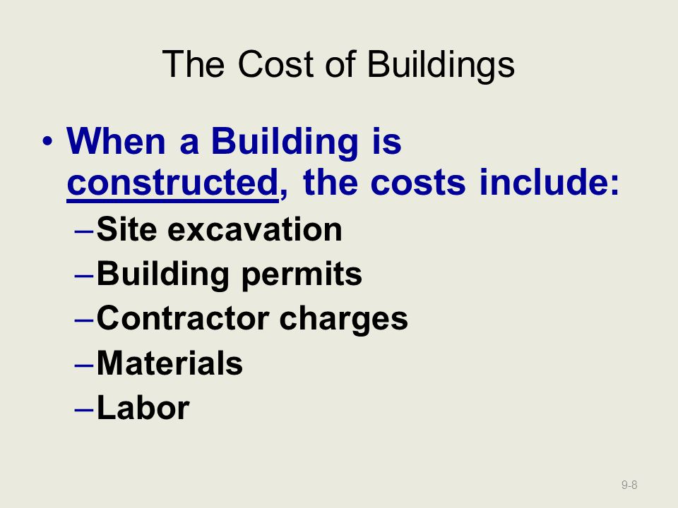 When a Building is constructed, the costs include:
