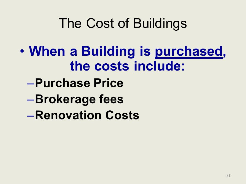 When a Building is purchased, the costs include: