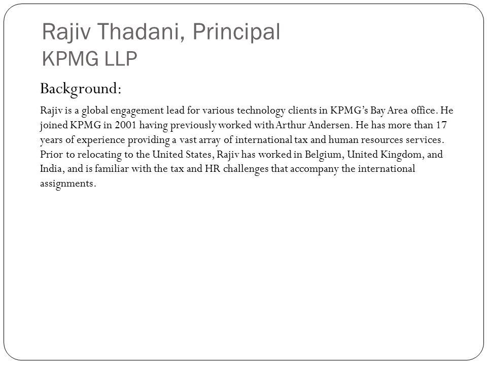 Rajiv Thadani, Principal KPMG LLP