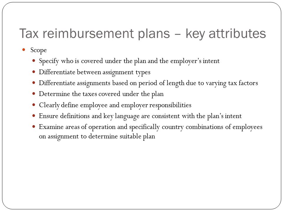Tax reimbursement plans – key attributes