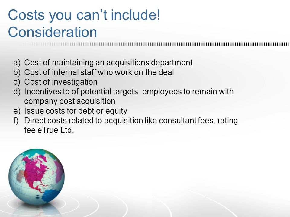 Costs you can't include! Consideration