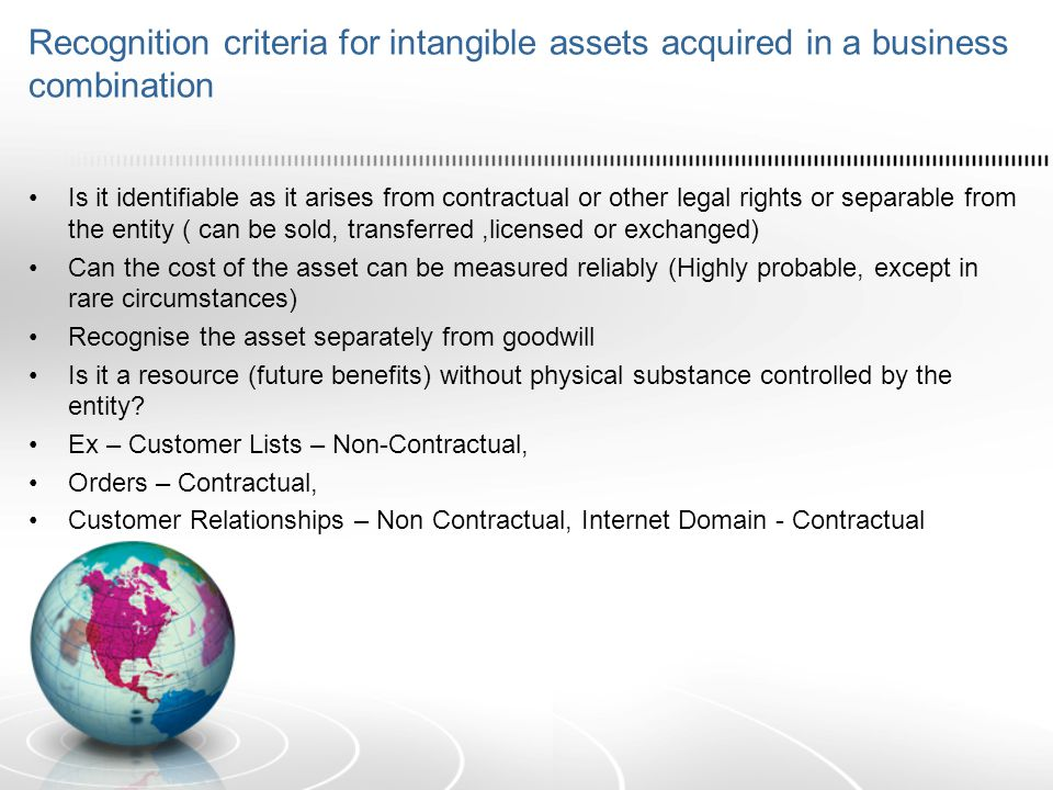 Recognition criteria for intangible assets acquired in a business combination