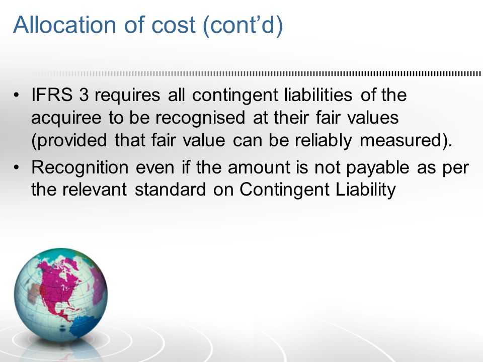 Allocation of cost (cont'd)