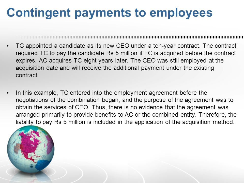 Contingent payments to employees