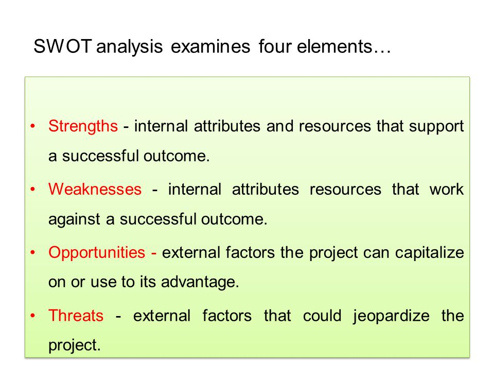 SWOT analysis examines four elements…